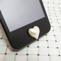Pearl White Mellow Heart Love Shape DIY Home Button Sticker for Apple Products iPhone 3,4/4s,5,ipad 2,3,4,iPod itouch