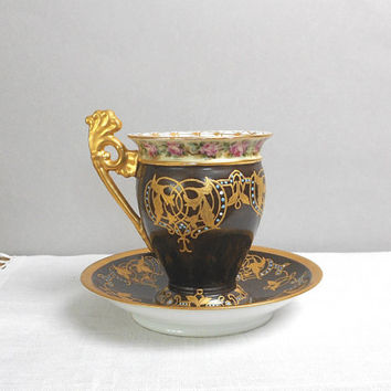 Antique Chocolate Cup and Saucer Set Ornate Handpainted Limoges Tresseman Vogt France R L Decorator Mark Collectible Porcelain French Decor