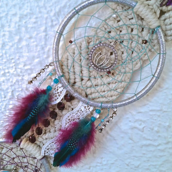 Handmade Vintage Macrame Turquoise and Purple Dreamcatcher Wall Hanging