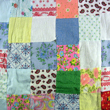 Vintage Flannel Patch Quilt Top Baby Crib Unfinished