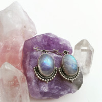 Moonstone Earrings / Sterling Silver Moonstone Drop Earrings / Rainbow Moonstone Jewelry / Gemstone Earrings