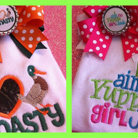 Duck Dynasty inspired gift set 2 Onesuits and matching bows I heart Duck Dynasty and I aint no yuppie girl Jack