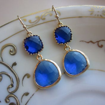 Cobalt Blue Earrings Gold - Gold Plated - Bridesmaid Earrings Wedding Earrings Valentines Day Gift