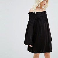 ASOS PETITE Shirred Smock Dress with Fluted Sleeve at asos.com