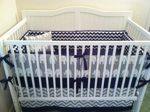Crib Bedding Set Gray White Navy Blue From