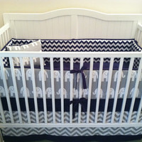 Crib Bedding Set Gray White Navy Blue Elephant
