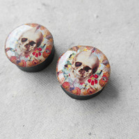 SALE gauges Skull anatomy image ear plugs,4,5,6,8,10,12,14,16,18,20,22,24,26-60mm;6g,4g,2g,0g,00g;1/4,5/16,3/8,1/2,9/16,5/8,3/4,7/8,1 1/4""