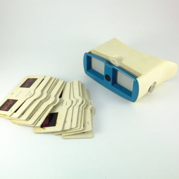 Vintage Stereoscope - 3 Stereo Photography Stereo Slide Viewer, Soviet Film Viewer White Blue 35 mm Accessory For Photography CCCP