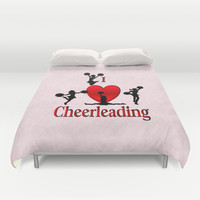 I Heart Cheerleading Duvet Cover by Leatherwood Design
