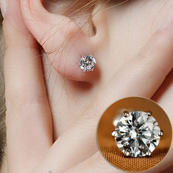 New Design Rhinestone Crystal Silver Stud Earrings  Piercing Ear Studs for Women Wedding Party Gift