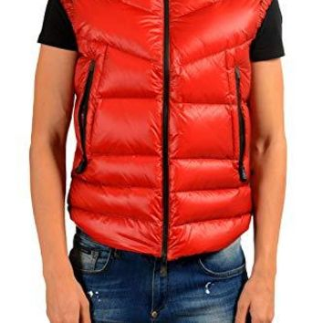 Moncler Men's KOSTEMBERG Red Down Full Zip Down Vest Sz 3 US M