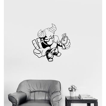 Wall Decal Cool Demon Satan Monster Youth Children Cheerful Vinyl Sticker Unique Gift (ed707)