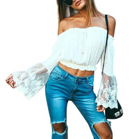 Casual Summer Off Shoulder Lace White Women Blouse Shirt 2016 Sexy Beach Style Flare Sleeve Embroidery Crop Tops Blusas