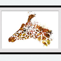 Giraffe watercolor print Giraffe colorful decor Giraffe wall art Home decoration Kids room wall poster Wall hanging Nursery room decor W464