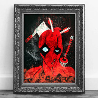 Deadpool Takes a Beating Marvel Comic Book Wall Art Print