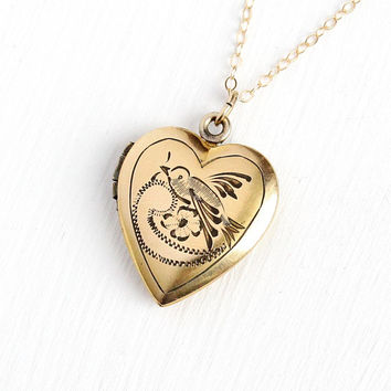 Love Bird Locket - Vintage 12k Gold Filled Heart Necklace - Mid Century WWII Era 1940s Romantic Figural Floral Flower Etched Jewelry