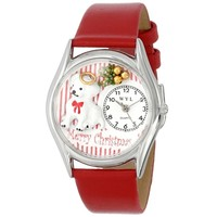 SheilaShrubs.com: Women's Christmas Puppy Red Leather Watch S-1221010 by Whimsical Watches: Watches