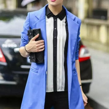 Royal Blue Boyfriend Lapel Long Blazer