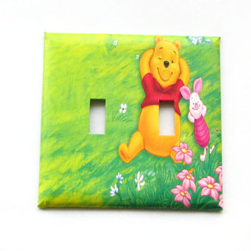 Double Light Switch Cover - Light Switch Plate Winnie the Pooh Piglet