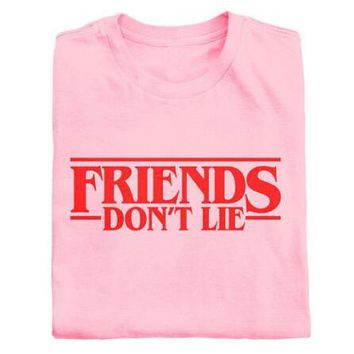 Aesthetic Casual Short Sleeve Tee FRIENDS DON'T LIE T-Shirt Red Letter Graphic Tops Cotton Tumblr Gifts Trendy Clothing t shirts