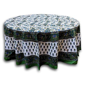 Cotton Elephant Print Floral Paisley Tablecloth Round 72 inches Green Blue