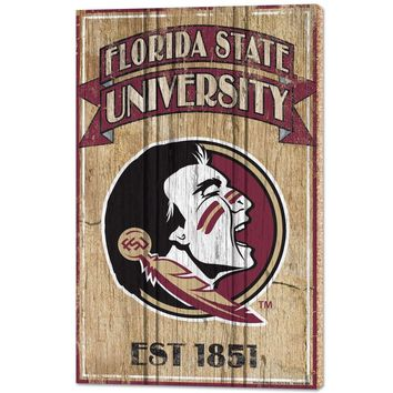 "FLORIDA STATE SEMINOLES EST. 1851 VINTAGE WOOD SIGN 15""X24'' BRAND NEW WINCRAFT"