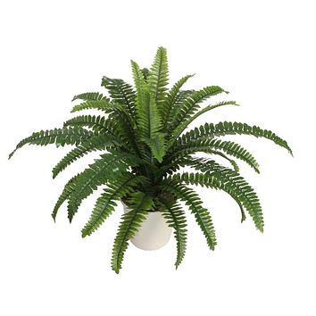 "24"" Potted Artificial Green Boston Fern in a Decorative Cream Pot"