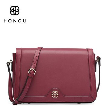 HONGU Natural Cow Leather Bag Women Handbag Red Wild Girl Messenger Packet Oblique Cross Shoulder Bag Simple Small Square Pocket