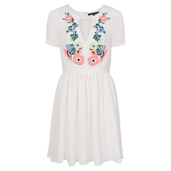 Buy French Connection Melrose Stitch Flared Dress, Classic Cream online at John Lewis