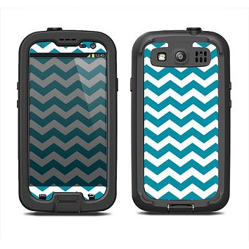 The Subtle Blue & White Chevron Pattern V2 Samsung Galaxy S3 LifeProof Fre Case Skin Set