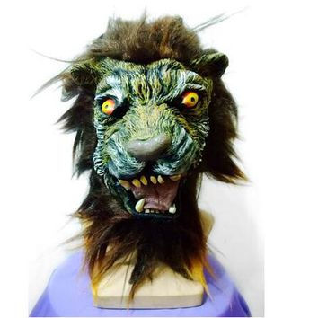 Top Grade Adult Halloween Props Adult Angry Lion Head Mask