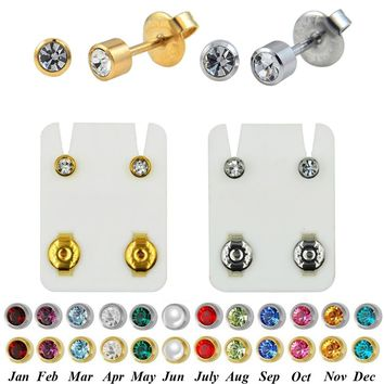 PAIR 24K Plated Gold Birthstone CZ Gem Ear Helix Tragus Cartilage Stud Earrings Piercing Professional for Earring Gun