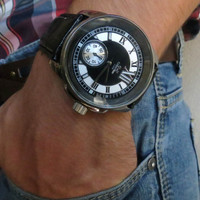 Unique Men's Black Leather Wrist Watch - Leather Accessories - Men's Wrist Watches - Leather Watches - Men's Watches