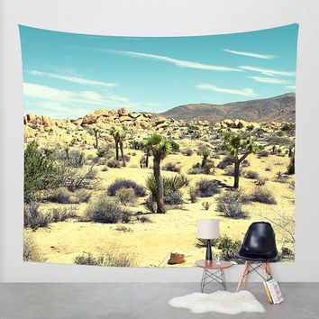 Dorm Wall Tapestry, Desert Tapestry, Joshua Tree, Modern Wall Tapestry, Mojave Desert, Cloudy Sky Art, Southern California Tapestry
