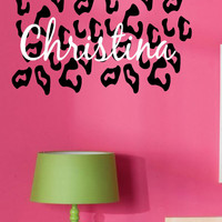 Leopard Print w Custom Name Vinyl Wall Decal Lettering- Teen- Tween- Animal Print-Personalized Name-Custom Wall Art