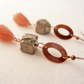Copper and pyrite earrings - neutral earthtone earrings with rough pyrite cube and brown glass teardrop