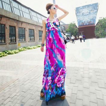 Purple Bohemian Floral Print Halter Maxi Dress