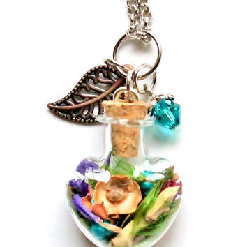 Terrarium Necklace Turquoise, Purple Flowers, Rose Petals, Nature Jewelry Gift Idea Woodland Glass Heart Pendant Crystal and Leaf Charm