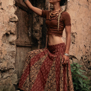 GypSy Dancer Top and Long Skirt Brown Outfit Earthy Natural W ITH DISCOUNT