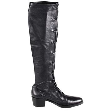 Ann Demeulemeester Boots Lace Up Knee High Black Leather US 6