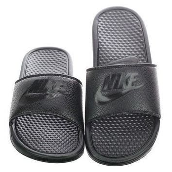 ONETOW Nike Benassi JDI Men's Slide Black/Black Slipper 343880 001 Free Shipping