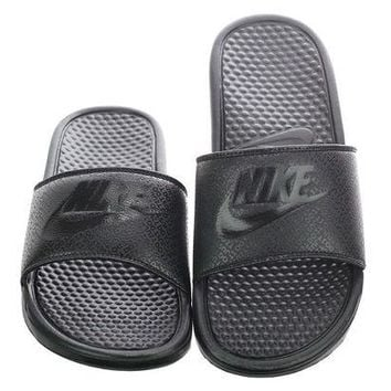 NOVO5 Nike Benassi JDI Men's Slide Black/Black Slipper 343880 001 Free Shipping