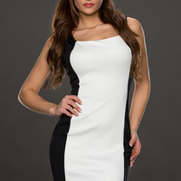 White Cut-Out Back Mini Dress with Color Block Accent