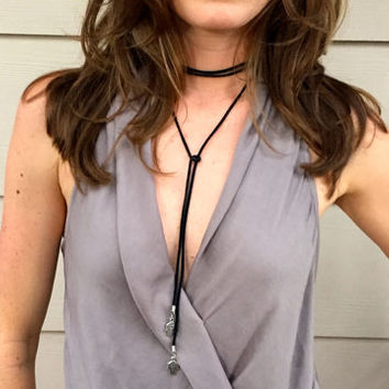 Suede Leather Hamsa Evil Eye Choker Wrap / Lariat Necklace / Bol