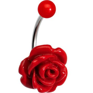Red Beautiful Blooming Stone Rose J-Bar Belly Ring