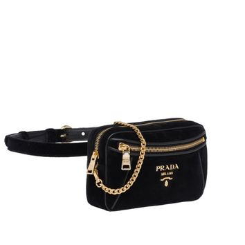 Velvet and leather belt bag