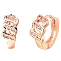 18K Rose Gold Plated Three Stripes Crystal Accent Hoop Stud Earrings