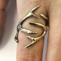 Jewelers Bronze Whitetail Deer Antler Ring Moon Raven by mrd74