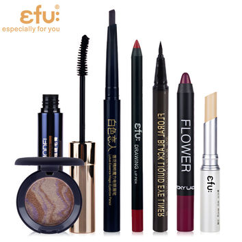 1Sets=7Pcs Makeup Set Lip liner and Lipstick Eyebrow Eye Shadow Concealer and Eyeliner and Mascara Brand EFU #EFU010