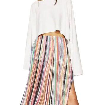 Polychrome Stripe High Waist Side Split Pleated Skirt